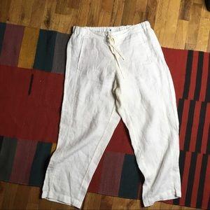 J. Jill Love Linen White Cropped Pants Sz M